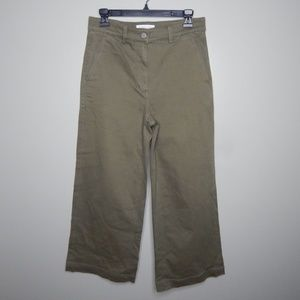 everlane women wide leg crop pants sz 8 olive